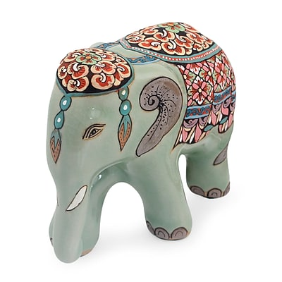 Novica Thai Celadon Hand Painted Ceramic Small Elephant Figurine