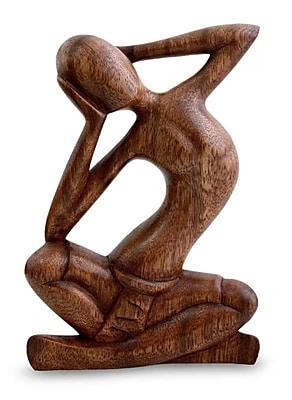 Novica Thought and Meditation Figurine