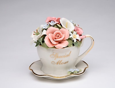 CosmosGifts Special Mom Flower Cup and Saucer Music Box