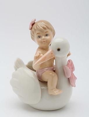 CosmosGifts Baby on Stork Figurine
