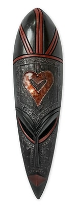 Novica African Heart Hand Crafted African Wood Mask Wall D cor