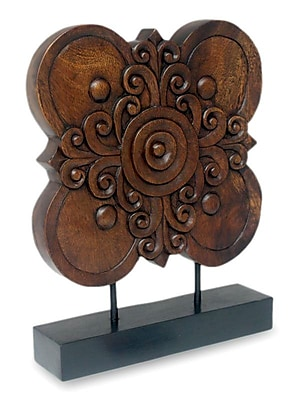 Novica Blossoming Shield Hand Carved Floral Wood Sculpture
