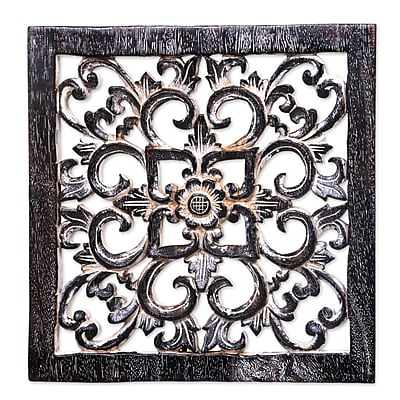 Novica Floral Cross Signed Balinese Hand Carved Cross Panel Wall D cor