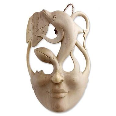 Novica Surreal Dolphin Wood Mask Wall D cor