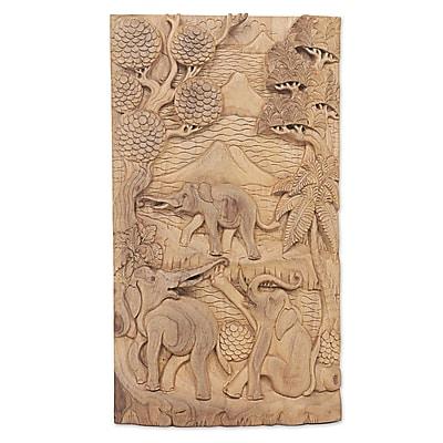 Novica Playful Elephants Artisan Crafted Wood Relief Panel w/ Elephant Motif Wall D cor