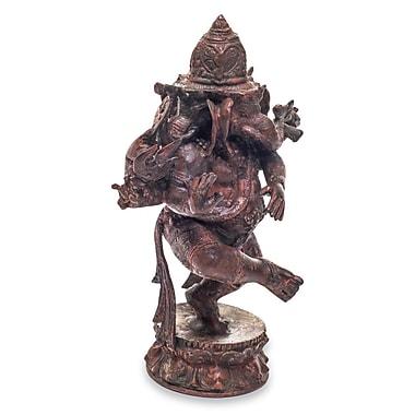 Novica Three Faced Ganesha Bronze Figurine
