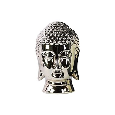 Urban Trends Ceramic Buddha Head Bust; Chrome Champagne