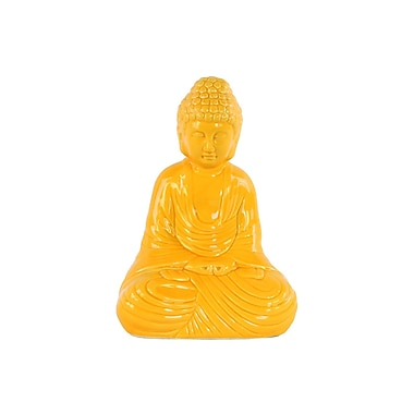 Urban Trends Ceramic Meditating Buddha Figurine; Yellow