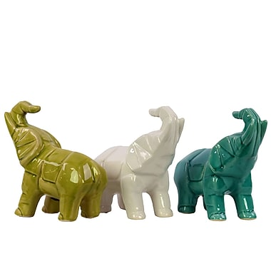 Urban Trends Ceramic Polygonal Standing Trumpeting Elephant Figurine (Set of 3)
