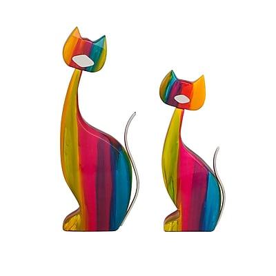 Finesse D cor 2 Piece Le' Color Cat Figurine Set