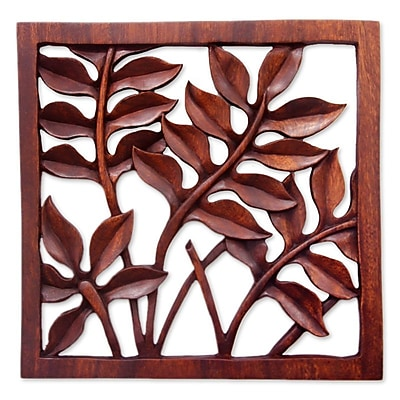 Novica Melinjo Leaves Hand Crafted Relief Panel Wall D cor