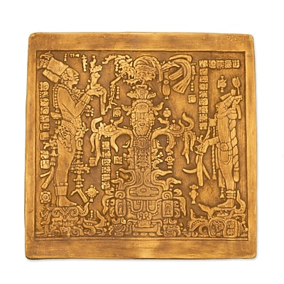 Novica Maya Foliated Cross Plaque of Art from Palenque Wall D cor