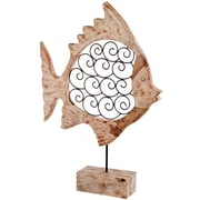Modern Day Accents Voluta Iron Scroll Wood Fish on Stand Statue