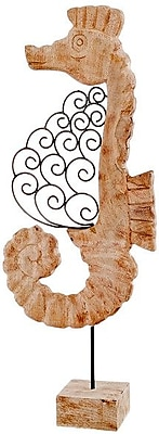 Modern Day Accents Voluta Iron Scroll Wood Seahorse on Stand Statue