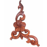 Novica Seji Taram Decorative Floral Wood Relief Panel Hand Carved Wall Decor