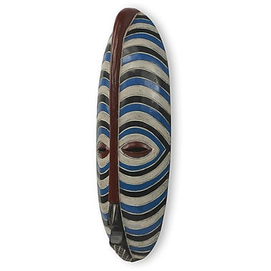 Novica Ali Mohammed Blue and White Stripes African Mask Wall Decor