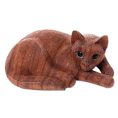 Novica Nengah Sudarsana Hand Carved and Painted Cat Sculpture
