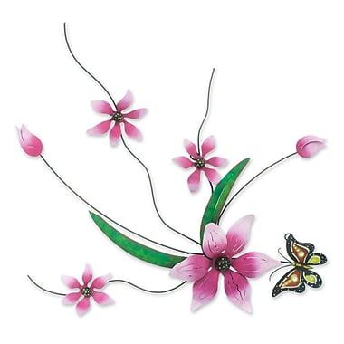 Novica J.Blas Pink Flowers Handmade Painted Iron Wall Decor