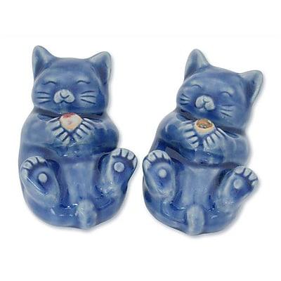 Novica Duangkamol Handmade Celadon Ceramic Cat Figurines (Set of 2)