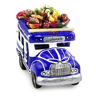 Novica Ceramic Chicken Bus Model Car