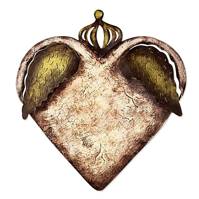 Novica Heart wth Wings and Crown Steel Sculpture Wall D cor