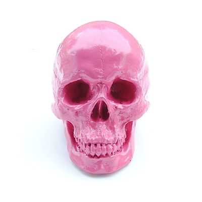 Near and Deer Replica Faux Taxidermy Human Skull Figurine; Hot Pink