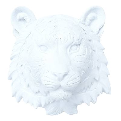 Near and Deer Faux Taxidermy Tiger Wall D cor; White