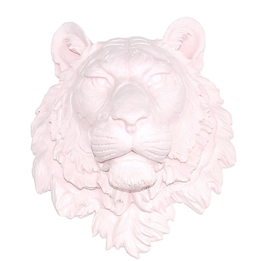 Near and Deer Faux Taxidermy Tiger Wall D cor; Light Pink