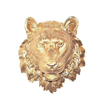 Near and Deer Faux Taxidermy Tiger Wall D cor; Gold