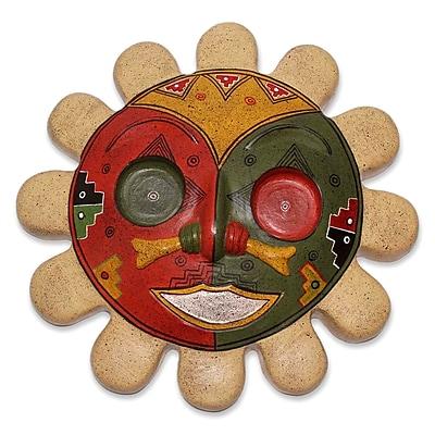 Novica Rising Sun Unique Inca Ceramic Mask Wall D cor