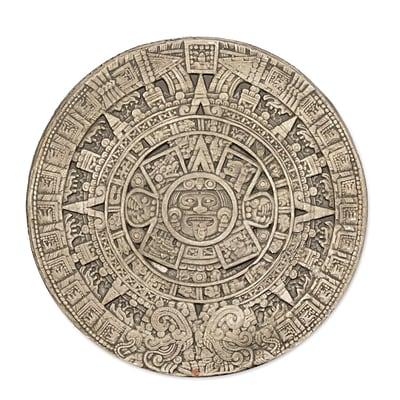 Novica Small Aztec Calendar Ceramic Plaque Wall D cor