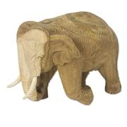 Novica Rain Tree and Wood Elephant Figurine