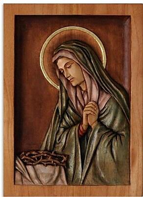 Novica Mary Virgin of Sorrows Cedar Relief Panel Wall D cor