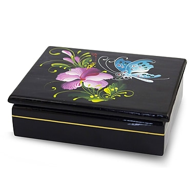 Novica Decorative Sweet Thai Blossom Lacquered Wood Box