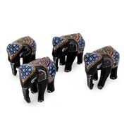 Novica Young Elephants Lacquered Wood Figurine (Set of 4)