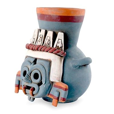 Novica Decorative God of Rain and Lightning Ceramic Vessel