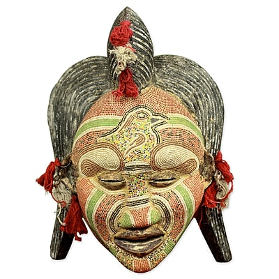 Novica Ancient River Goddess Congolese Wood African Mask Wall D cor