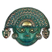 Novica Ai Apaec w/ Ritual Crown Copper Mask Wall D cor