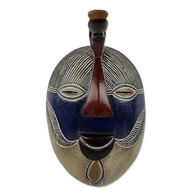 Novica Congolese Wood Mask w/ Bird Accent Wall D cor
