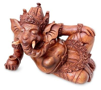 Novica Magnanimous Ganesha Wood Figurine