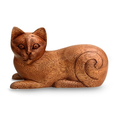 Novica Wood Kitty Figurine