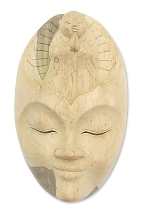 Novica Face of Piety Wood Mask Wall D cor