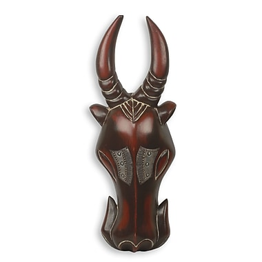 Novica Anna Yawson Hand Carved Cattle Theme African Mask Wall Decor