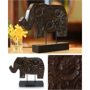 Novica Blossoming Elephant Wood Sculpture