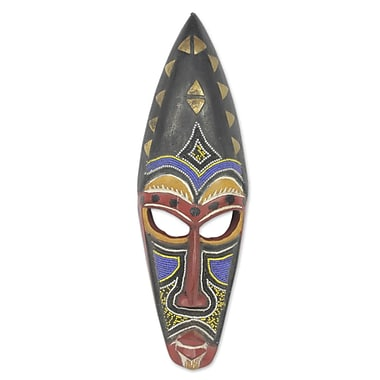 Novica Beaded Authentic African Mask Wall D cor