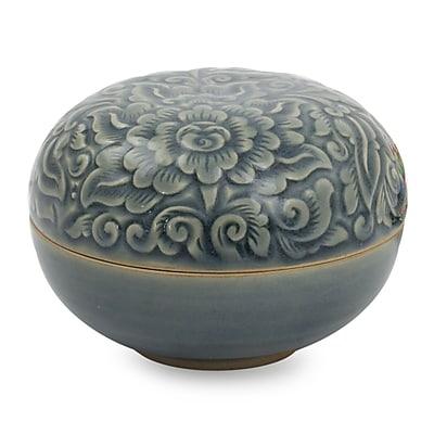 Novica Celadon Ceramic Decorative Box