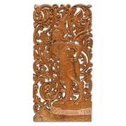 Novica Hand Carved Cultural Wood Relief Panel Wall D cor; Brown