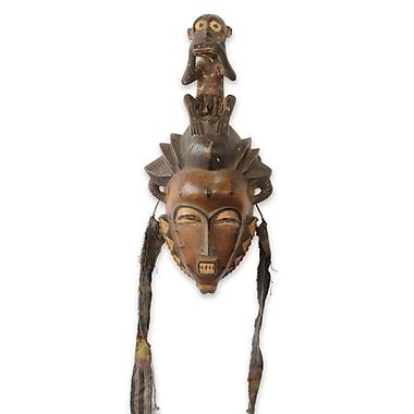 Novica Baule He Monkey African Tribal Mask Wall D cor