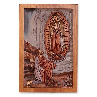 Novica Christianity Panel of Lady of Guadalupe and Juan Diego Wall D cor
