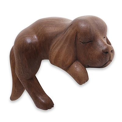 Novica Wood Cocker Spaniel Puppy Figurine; Brown